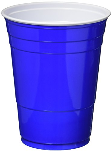 Plastic Blue Party Cold Cups, Round Style. 16 Ounce. Pack of 50
