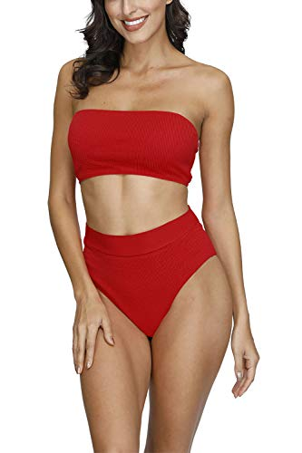 Pink Queen Women's Removable Strap Pad High Waisted Ribbed Bikini Red Size M