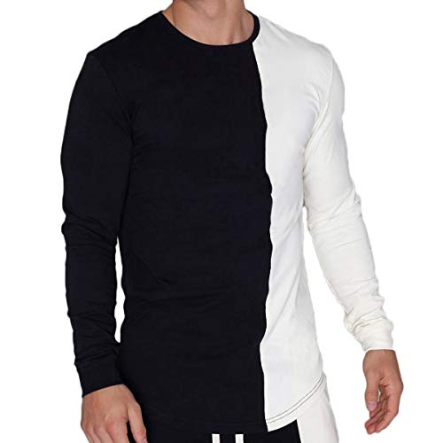 Magiftbox Mens Lightweight Workout Gym Long Sleeve Sweatshirts Active Jogging Fashion Casual Muscle T-Shirts T36_Black_US-L