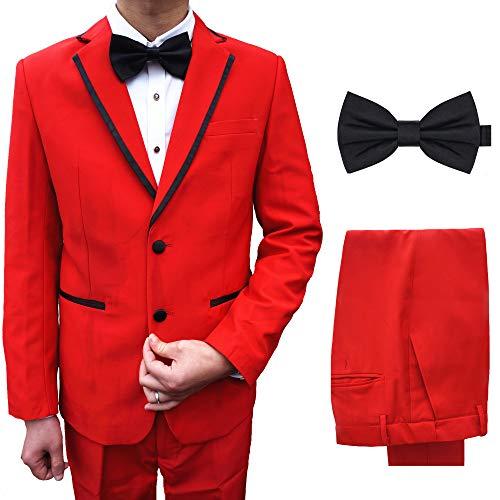 [CCHY]フォーマルスーツ カラースーツ セット テーラードジャケット スラックス 結婚式 司会 ステージ衣装 メンズXF18 (レッド, L)