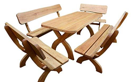 Sitzgruppe Waidmannsheil - 5 teilig I aus massiver Eiche   Made in Germany   Gartenmöbel I Sitzgruppe I Sitzgarnitur I Holzmöbel I Massivmöbel I Outdoormöbel