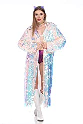 Pink Mermaid Sequin Rave Long Sequin Duster
