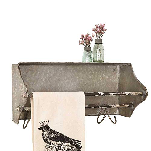 Colonial Tin Works Weathered Galvanized Metal Toolbox Wall Rack Towel Bar wHooks grey