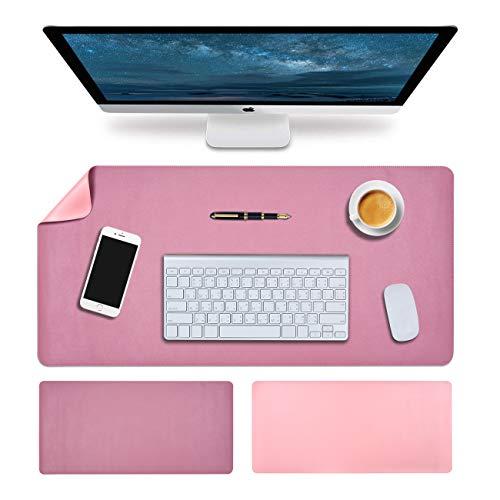 Almohadilla de escritorio grande de piel sintética para escritorio, impermeable, para oficina y hogar, tamaño grande, 35,43 x 16,93 pulgadas, color rosa