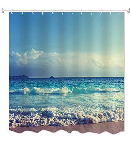 A.Monamour Blauer Ozean Meer Strand Bewölkter Himmel Meer Natur Tropische Landschaft Druck Polyester Stoff Duschvorhang Für Bad 180X200 cm / 72