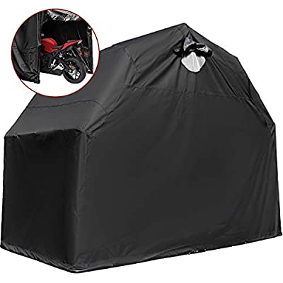"""Mophorn Motorcycle Cover 600D Motorcycle Tent Oxford Material Motorcycle Shed Anti-UV,132""""(L) x 54""""(W) x 78""""(H) (Black, Large) by Mophorn"""
