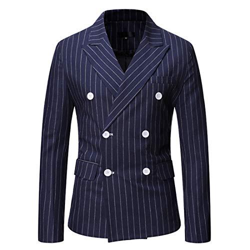 Jacke Herren Blazer Herren Slim Fit Business Fashion Casual Zweireihiger Langarm Hochzeitsblazer Business Blazer Office Casual Neue Herren Tops Blue. 3XL