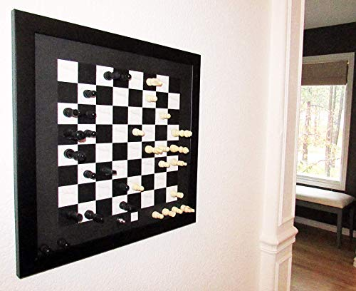 Home Magnetics Magnetic Wall Chess Set, Black | Wall Mounted Chess Board Game | Framed Wooden Chess Set with Magnetic Pieces