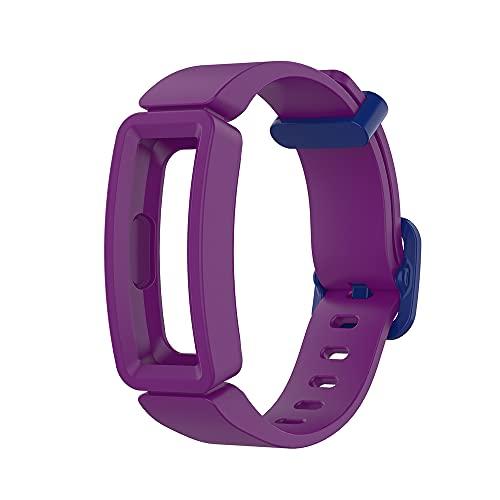 KINOEHOO Correas para relojes Compatible con Fitbit ace2/inspire/inspire HR Pulseras de repuesto.Correas para relojesde silicona.(Morado oscuro + azul oscuro)