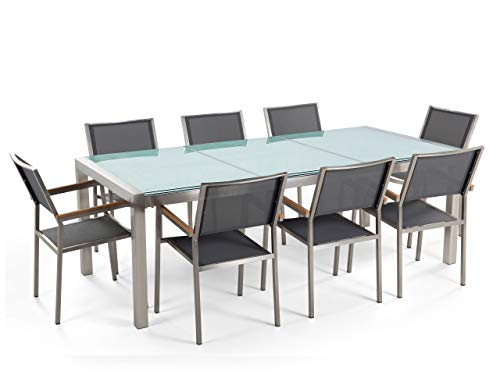Beliani 8 Seater Garden Dining Set Cracked Glass Top Grey Chairs Steel Frame Grosseto