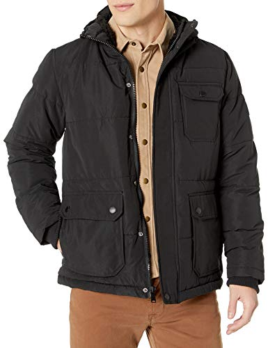 Ben Sherman Men's Puffer Jacket, Sherpa Lined Hood Black, X-Large