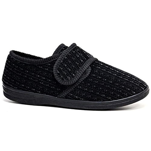 DIABETIKER Orthopädische Easy Close Wide Passende Touch Close Bar Gurt Schuh Herren Slipper, - Black Plain - Größe: 42 / 8 UK