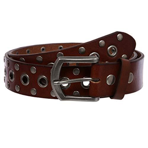 Cinturón de piel maciza con remaches y ojales Marrón/Plata 38W (Ropa)