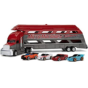 Micro Machines Mini Vehicle Hauler - Features 4 Exclusive Vehicles - Open The Top of The Trailer / Lower The Back Ramp to Load Up to 8 Vehicles - Tiny Vehicles Huge World