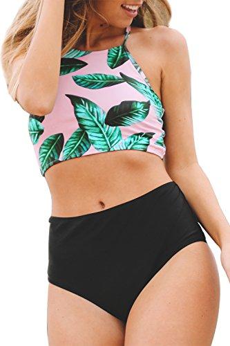 SEASELFIE Women's Leaves Printing High-Waisted Halter Tankini Beach Bikini Small