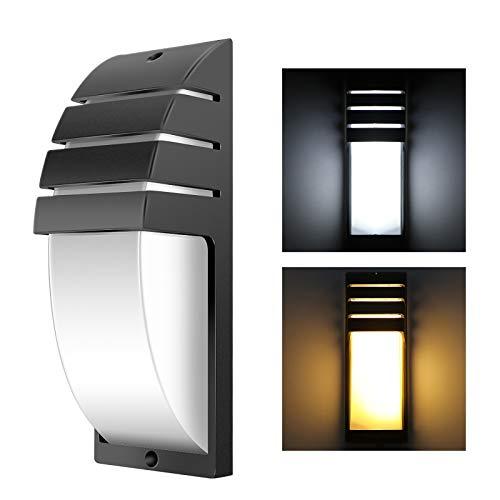 8W LED COB pared de la pared moderna lámpara simple montada en la pared 6000-6500K AC 85-265V luz de la noche impermeable para el balcón del pasillo de la casa (negro, blanco cálido)