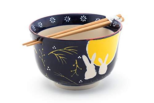 Fuji Merchandise Japanese Moon Rabbit Design Quality Ceramic Ramen Udon Noodle Bowl with Chopsticks Gift Set 6.25 Inch Diameter