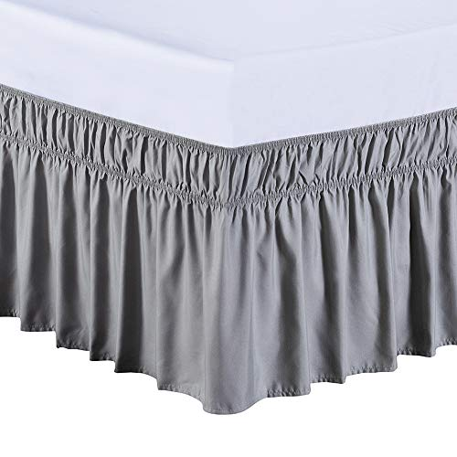 MEILA Bed Skirt, Easy to Install Wrap Around Dust Ruffled Grey Skirts for Queen and King Size Beds 16 Inch Drop