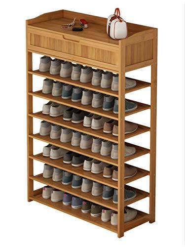 Zapatero de bamb¨² Zapatero Estante para zapatos de varias capas Estante para zapatos de dormitorio para el hogar con caj¨n Muebles para el hogar-Azul cielo