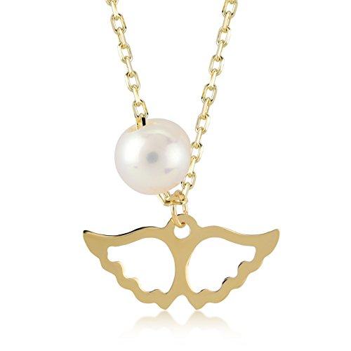 Dames halsketting 14 karaat / 585 echt goud geelgoud met Mallorca parel, hanger als engelenvleugel gouden ketting, kettingmaat 45 cm
