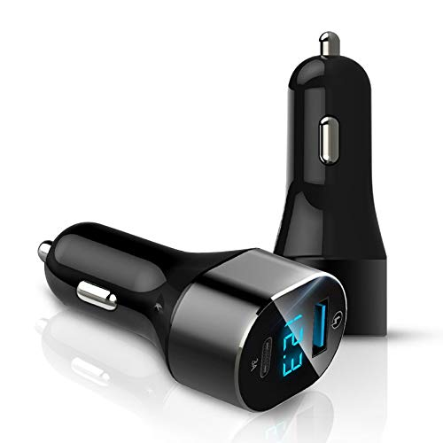 RUNNA C12 QC 3.0 3A USB + USB-C/Type-C Pantalla Digital Cargador de Coche Durable