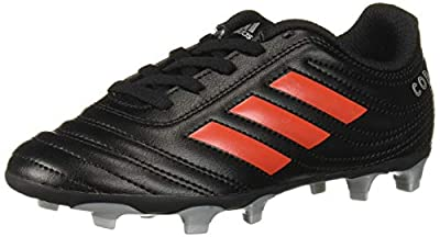 adidas Unisex-Kid's Copa 19.4 Firm Ground Soccer Shoe, Black/hi-res red/Silver Metallic, 4 M US Big Kid