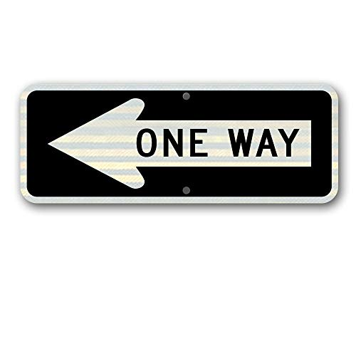 """Metal traffic Sign: 36"""" X 12"""" One Way (Left)"""