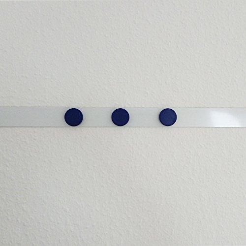Stahlblech Magnet-Wandleiste als Haftgrund für Magnete I 1 Meter Magnetleiste inkl. 3 Rundmagnete - blau I selbstklebend, zuschneidbar I mag_062