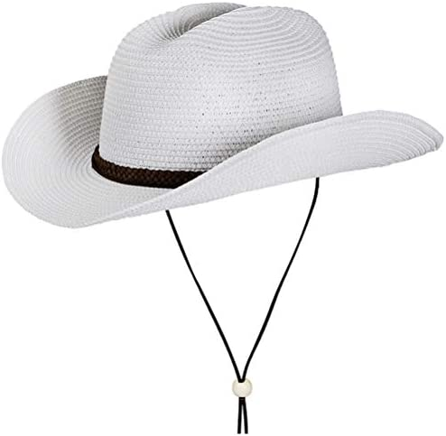 Straw Cowboy Hat Summer Beach Panama Sun Hats Men Women Western Wide Curved Brim Fedora with product image