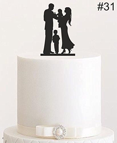 Manschin Laserdesign Cake Topper, Tortenstecker, Tortenfigur Acryl, Tortenständer Etagere Hochzeit Hochzeitstorte (Schwarz)