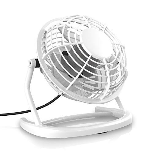 CSL - USB Ventilator - Tischventilator Fan Lüfter - optimal für den Schreibtisch inkl. An Aus-Schalter - PC MAC Notebook - in weiß