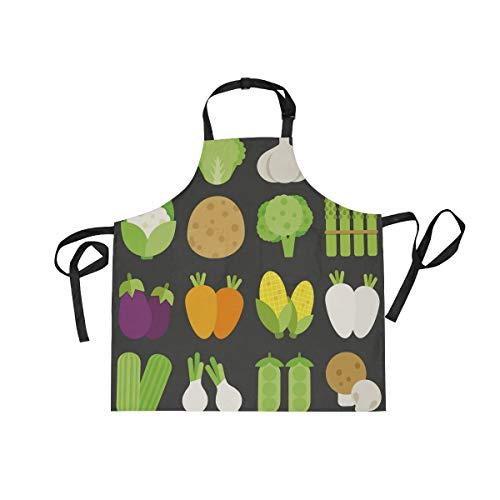 BEUSS Fruta Verde Arte Negro Delantal de Cocina Camarero con 2 Bolsillos Correa el Cuello Ajustable Delantales para Cocinar Mujeres Carniceros Cocineros Hombres