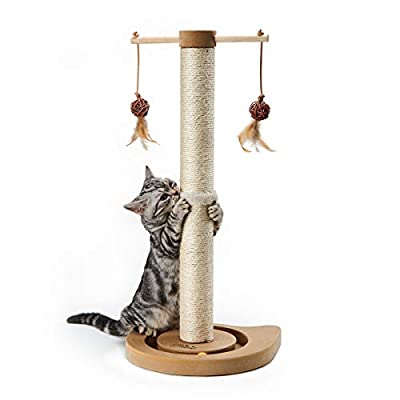 PEEKAB Cat Scratching Post Kitten Sisal Scratcher Tree Cat Tracking Interactive Toys - 25 inches Beige