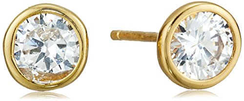Amazon Essentials Yellow Gold Plated Sterling Silver AAA Cubic Zirconia Bezel Stud Earrings (6mm)