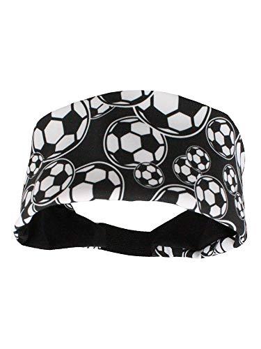 MadSportsStuff Crazy Soccer Stirnband mit Fußballbällen (Schwarz/Weiß, Einheitsgröße)