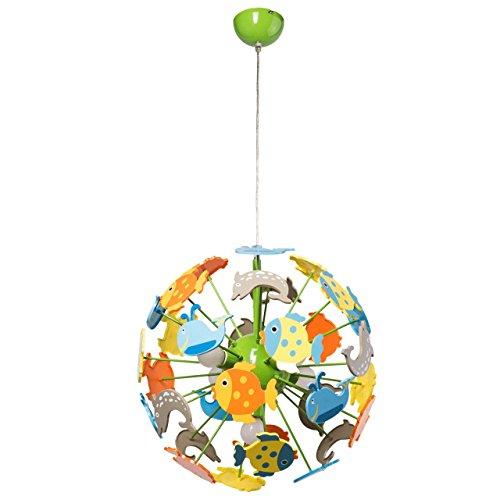 MW-Light 365014705 Lampada Pendente Per Bambini con Pesciolini Plastico Metallo Multicolore Forma di Globo E14 5 x 40W