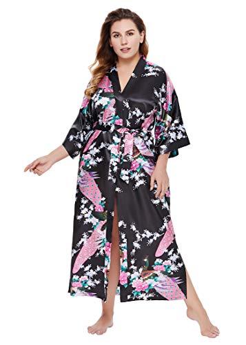 Coucoland Damen Morgenmantel Große Größen Pfau Muster Kimono Plus Size Maxi Lang Bademantel Damen Lange Robe Blumen Schlafmantel (Schwarz)