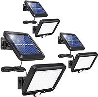 センサーライト 屋外 56LED×3ソーラーライト 5Mケーブル モーションディテクター付 3つ知能モード 太陽光発電 防水 人感センサー自動点灯 ガーデンライト 屋外ウォールライト 壁掛け/庭先/表玄関/駐車場などで活躍