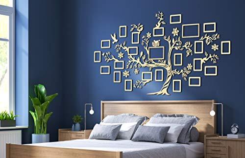 68travel Stammbaum aus Holz mit Bilderrahmen und Zubehör - Wanddekoration aus Holz für Schlafzimmer, Wohnzimmer, Arbeitszimmer