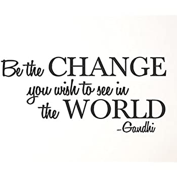 Matte White 22-Inch x 7-Inch 22x7-1255.bethe Be the change you want to see in the world Vinyl Wall Decal Vinyl Say M.White