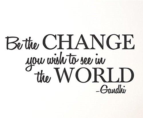 "Yingkai Wandaufkleber mit Zitat ""Be the Change You Wish to See in the World"", Vinyl"