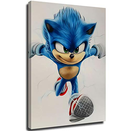 Coobal Sonic the hedgehog 2020 3D Hand-Painted Painting for Bathroom Bedroom Living Room Home Decor 12'x16'