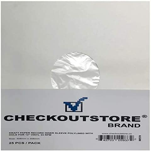 CheckOutStore 50 Paper Record Inner Sleeves with Hole for 12 LP Vinyl 33 RPM Records White Kraft product image