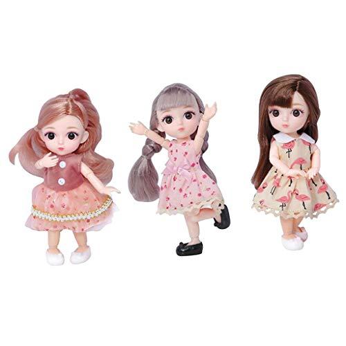 perfeclan 3X 12 Gelenke Mädchen Puppe mit Kleidung, Schuhe, Haar, 3D-Augen Mode Puppen Spielzeug