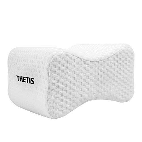 THETIS Homes Knee Pillow for Side Sleeper Leg Pillow for Sciatic Nerve Pain Relief, Back, Hip, Pregnancy and Spine Alignment - Memory Foam Orthopedic Legacy Leg Pillow with Washable Cover