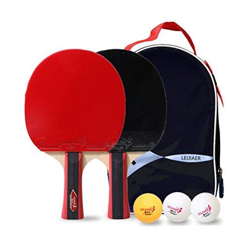 YUYAXQP Draagbare Tafel Tennis Bat Tafel Tennis Set Zevenlaags Pure Hout Bodemplaat met Twee Rackets + Drie Ballen + Kogeltas voor Dagelijkse Oefening Fitness of Entertainment, Rood