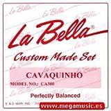 CUERDAS CAVAQUINHO - La Bella (CA300P) Juego Completo (4 Cuerdas) 011P/010P/009P/009P (Acero Liso) Lazo