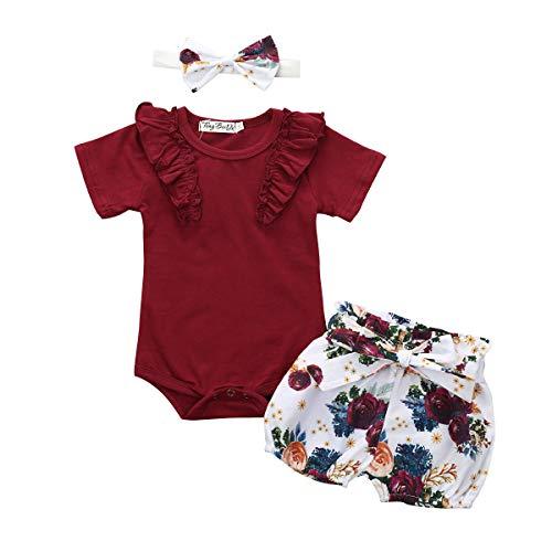 Bonfor 3 Pcs Ropa Bebe Niña 0-24 Meses Conjunto Verano Impresión de Flor Mono de Floral + Pantalón Corto + Banda de Pelo para Recien Nacido Niño Algodon Barata (Vino Rojo~a, 6-12 Meses)