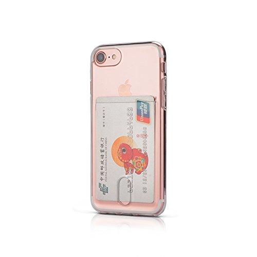 Wormcase® Kunststoffhülle mit Kartenfach kompatibel mit iPhone SE (2020) & 7/8 - Farbe Transparent - TPU Schale Back-Cover Schutz-Tasche Kratzfest Stoßfest Bumper Crystal-Clear dünn leicht schmal