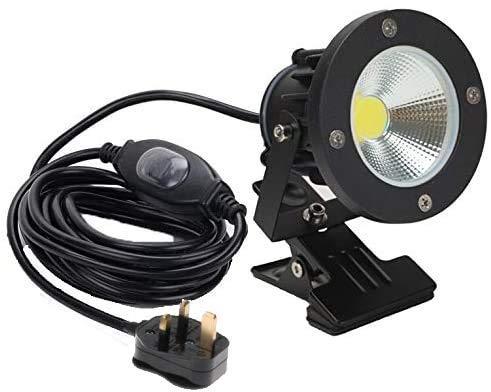 CattleBie Clip de luz LED con Cable de 3m CE Negro Impermeable y Resistente al Agua Clip Tipo sin Interruptor de luz LED al Aire Libre/Cubierta de luz de Seguridad del césped Lámpara de Publicidad l